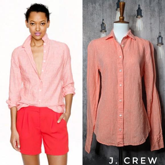 J. Crew Tops - J. Crew Slim Perfect Irish Linen shirt - Neon Rose